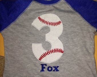 3 baseball birthday raglan shirt, boys baseball birthday shirt, baseball monogram, custom baseball shirt, blue raglan, embroidered baseball