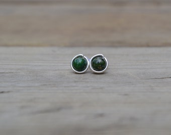 Green Pyrite Silver Stud Earrings // Wire Wrapped Earrings // Post Earrings // Silver Stud Earrings // Everyday Earrings // Gift for Her