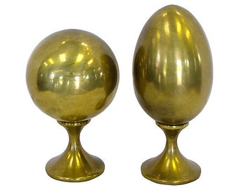 Set of Two, Brass Sphere & Egg Centerpieces
