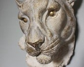 Faux Taxidermy Lioness Wall Decor Vintage White Brass Rustic Trophy Animal Leo Safari Africa Art Bedroom Kitchen Lion Sculpture-MySecretLite