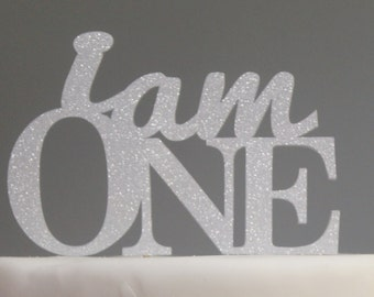 All About Details Silver I Am One Cake Topper