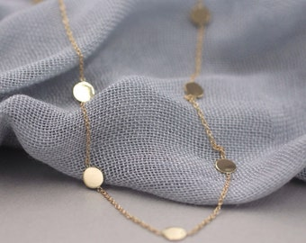 14k solid gold station necklace gold drops necklace gold by the yard necklace