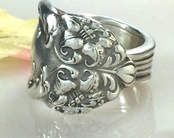 Silver Spoon Ring, Size 9, TIGER LILY 1901, Antique Reed Barton Silverplate, Repurposed Vintage Silverware Jewelry, Gift