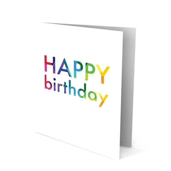 Happy Birthday Greeting Card with Colorful Text