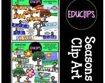 Seasons Clip Art Bundle (Color and B&W)