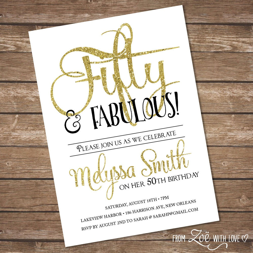 Black White Amp Gold Birthday Party Invitation 50 And Fabulous