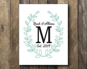 Family Monogram Printable - Printable Monogram - Wedding Monogram Printable - Family Est Sign - Monogram Printable - Family Monogram Print