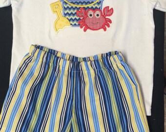 Baby Boy Appliqued Crab, Bucket amd Shovel Shirt and Matching Shorts Set Toddler Boy Applique Crab Short Set Matching Blue and Yellow Stripe
