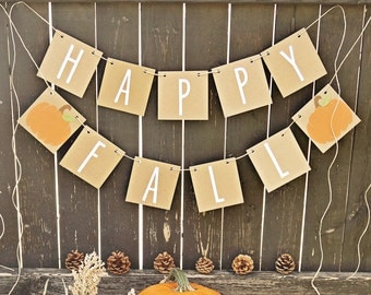 Happy Fall Banner Thanksgiving decor Fall Mantle
