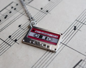 Cassette Charm necklace, Mix Tape Music Retro cassette Jewellery