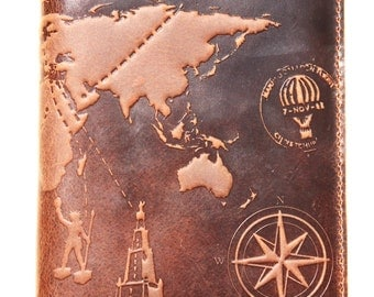 "Huge Premium Leather Passport Cover Avia Case "" 7 Wonders of World 3d Print "" Size 210mm by 175mm.Free USA shipping!"