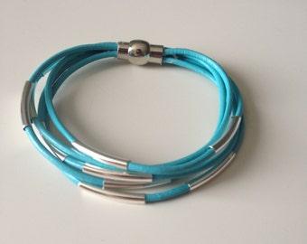 Blue Multi Strand Leather Bracelet - Silver Blue Bracelet - Blue Leather Bracelet - 5 Strand Leather Bracelet - Handmade Bracelet