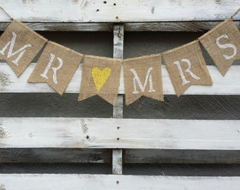 Mr. and Mrs. Burlap Banner with Personalized Color Heart,  Rustic Wedding Decor, Burlap Wedding Banner, Wedding Photo Prop, Mr and Mrs