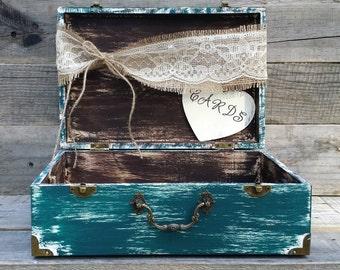 Rustic Wedding Teal Card Box, Wedding Card Holder, Shower Card Box, Shabby Chic Box, Baby Shower Decor, Rustic Wedding Decor