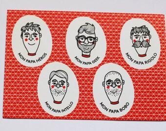 Father's day Dad Bobo fun Geek hero Intello postcard A6 Red! PANTONE letterpress