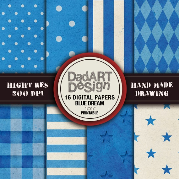 Blue Dream Digital Paper Patterns