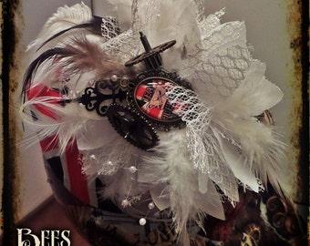 Steampunk Fascinator  - Cosplay - Burlesque - British - Union Jack - Flag