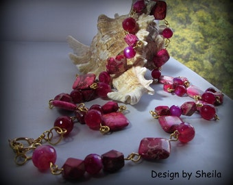 Gemstone Necklace – Squares of Imperial Fuchsia