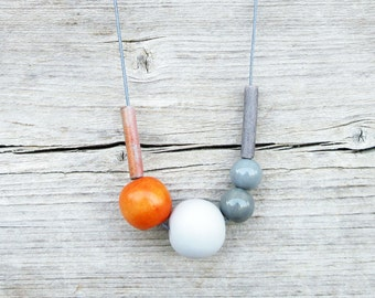 Orange and Gray Geometric Necklace / Ceramic Necklace / Wood, Ceramic and Polymer Clay Necklace / Boho Necklace / Long Necklace
