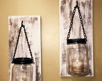 Hillbilly Mason Jar Sconces, rustic, wall sconces, shabby chic candles, country decor, farmhouse decor, mason jar sconce, mason jar decor