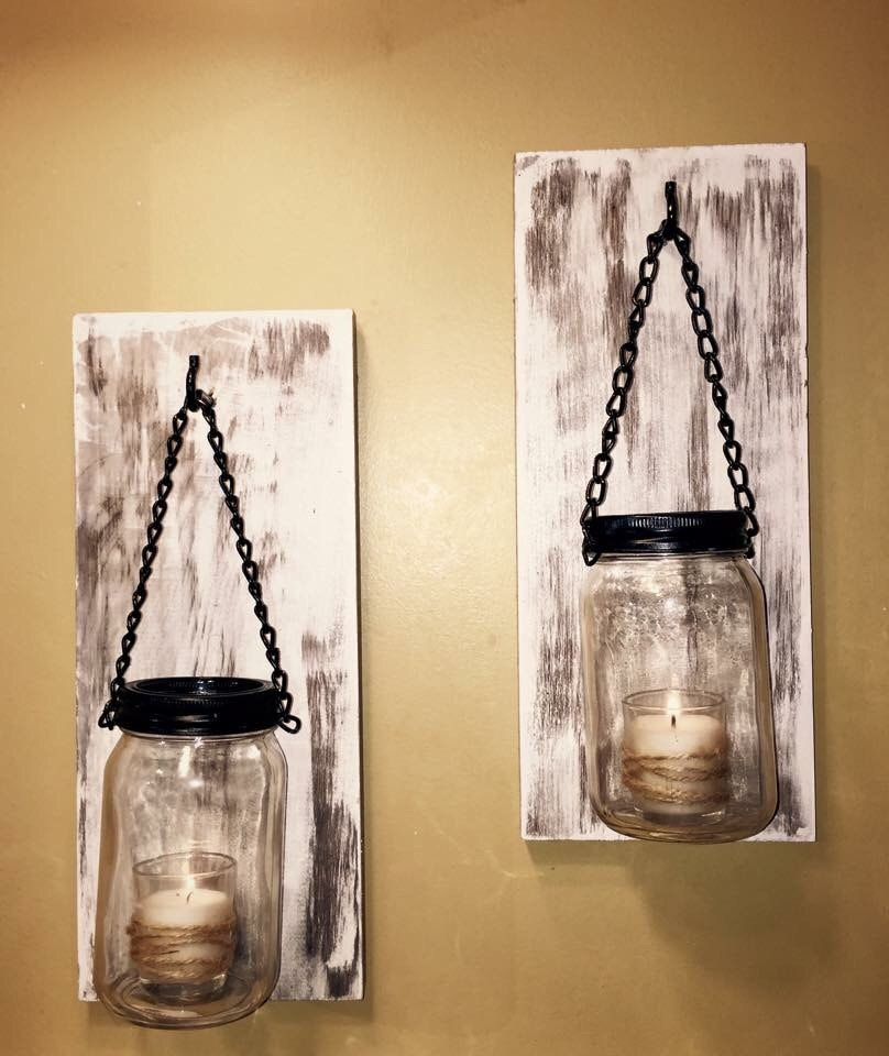 Wall Sconces Etsy : Hillbilly Mason Jar Sconces rustic wall sconces shabby chic