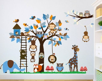 Children Wall Decal, Nursery Wall Decal, Baby Wall Decal, Wall Decals Nursery, Animal Wall Decals - Christmas Gift -Boys Christmas Gift Idea