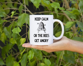 KillerBeeMoto:  Beekeepers U.S. Made Coffee Mug Keep Calm Or The Bees Get Angry