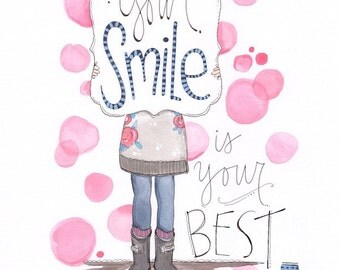 Teen art - Tween art - Girls encouraging art - Smile art print - Hand lettered art - Stacey Foster - Children's painting - Wall decor art