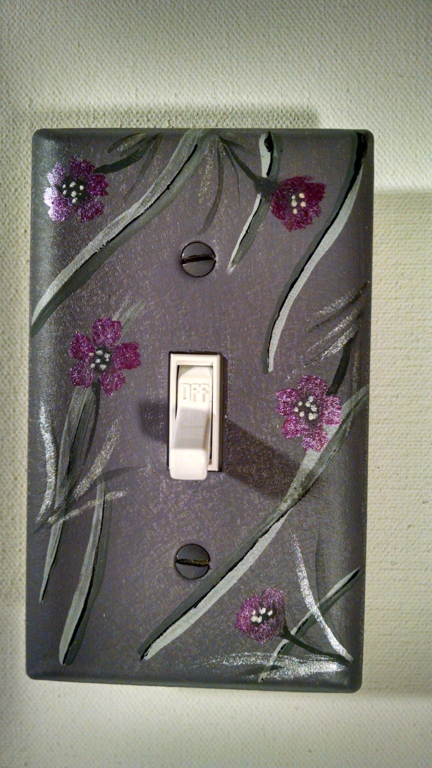 Hand Painted Light Switch Plate Metal With Acrylic Grey