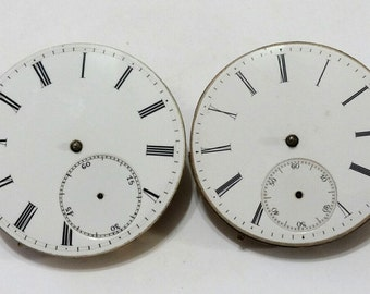 ON SALE - Antique, Pocket Watch, Movements, Dials, 3 Finger Bridge, Pair, Lot, Steampunk, Mixed Media, Jewelry, Beading, Supply, Supplies