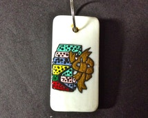 Domino, Hand Painted Domino, Gift, Present, Wrapped, Charm