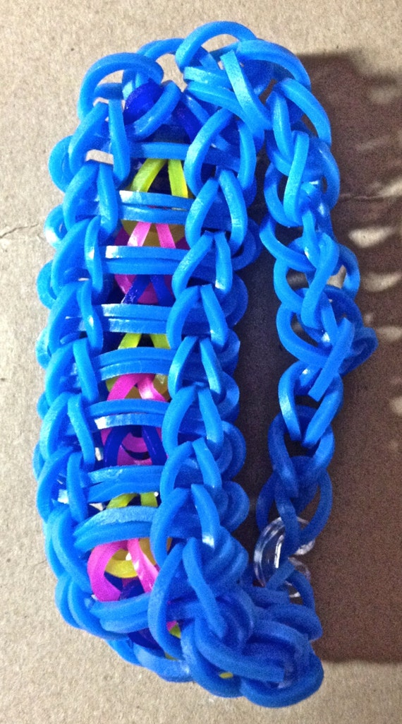 Rainbow Loom Jelly Band Ladder Bracelet by stoppingbuy on Etsy