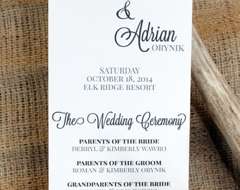 Wedding Program Printable - Modern & Clean
