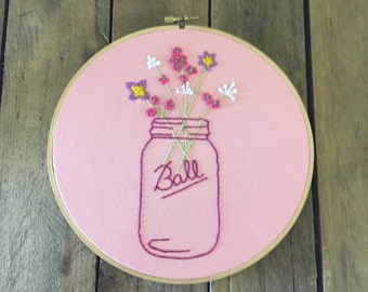 Mason jar embroidery hoop art - 8 in diameter