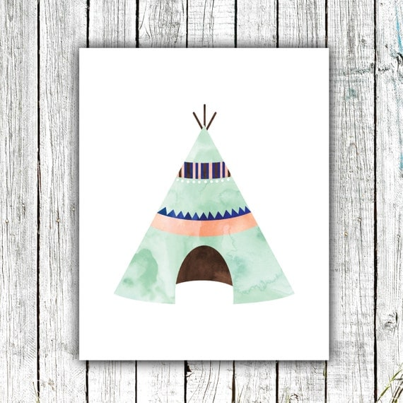 Nursery Art Printable, Teepee, Watercolor, Mint, Boho, Tribal, Printable Art, Wall Art, Instant Download, #365