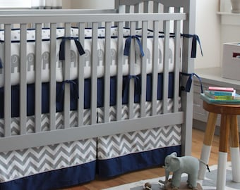 Boy Baby Crib Bedding: Navy and Gray Elephants Crib Bedding - Fabric Swatches Only
