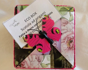 Scatole in Carta Riciclata ad Origami decorate-Bomboniere-Wedding Box-Orgami Gift Box-Upcycled Packaging-Recycled Gift Box-Holiday Gift Box