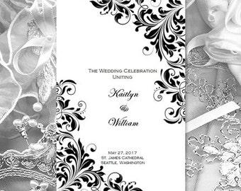 Catholic Church Wedding Program Kaitlyn Black White 85 X 11 Fold Word