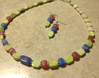 Lime blue and pink necklace and earrings