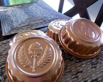 Vintage Molds in Copper Set  of 4