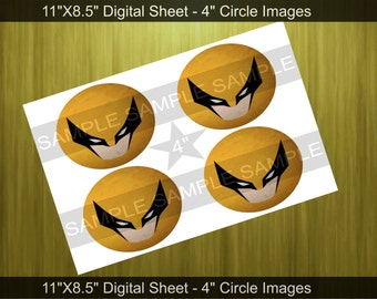 Superhero Wolverine Inspired 4 - 4 Inch Circles - Digital File - Party Printable - Toppers - Tags 4 Inch Circle Images - Instant Download