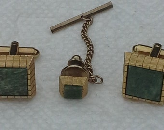 Vintage 1970s  gold tone, green stones cufflinks, and tie tac set.