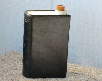 vintage Rumpp leather bound ceramic decanter