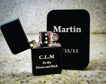 Set of 2 - Custom Engraved Lighters - Custom Cigar Lighter - Personalized Groomsmen Lighter - Custom Groomsmen Lighter - Groomsmen Lighter