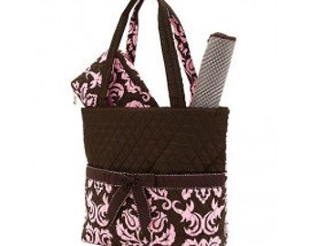 Brown with pink damask pattern 3pc diaper bag set. large. Changing pad, necessities pouch, & diaper bag. Custom embroidered