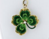Victorian 4 Leaf Clover Convertible Pendant and Brooch 14K Yellow