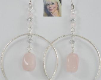 Rose Quartz & Swarovsky Crystal Sterling Silver Dangle Earrings CSS175E