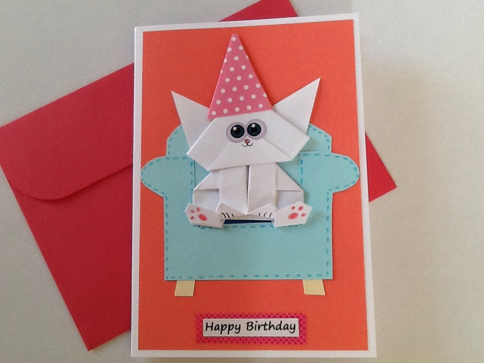 Cat birthday card funny origami girlfriend pop up