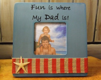 Personalized child baby FRAME BEACH THEMED picture frame for Dad Baby Frame New Dad Gift for nursery Baby shower gift nautical nursery decor