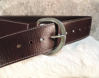 Dark Brown leather Fashion Cinch Buckle belt